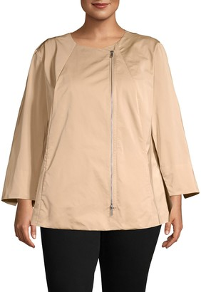 Lafayette 148 New York Plus Rashida Raglan-Sleeve Jacket
