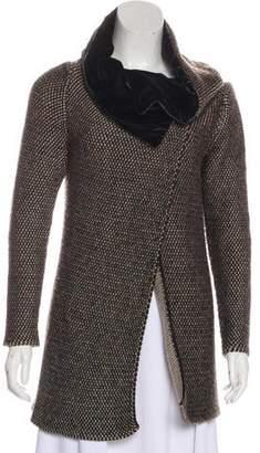 Etro Velvet-Trimmed Long Sleeve Jacket