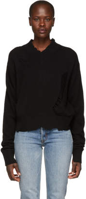 Helmut Lang Black Distressed Double Layer V-Neck Sweater