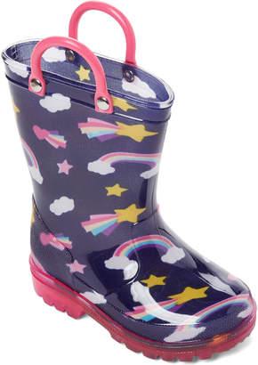 Lilly Of New York (Toddler/Kids Girls) Navy Rainbow Light-Up Rain Boots