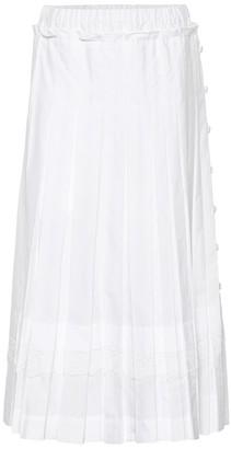 Simone Rocha Pleated cotton midi skirt