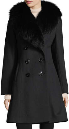 Sofia Cashmere Fur-Trim Double-Breasted Wool-Cashmere Coat