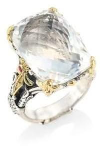 Konstantino Pythia Crystal, Corundum, Sterling Silver& 18K Yellow Gold Cocktail Ring