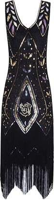 Metme Women's 1920s Vintage Flapper Fringe Beaded Great Gatsby Party Dress, Black