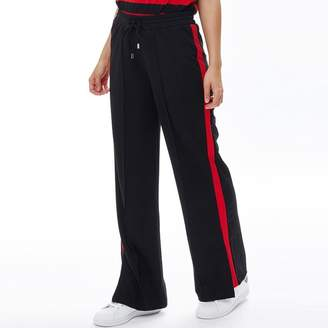 Brave Soul Womens Side Stripe Wide Leg Trousers Black/Red
