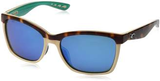 Costa del Mar Women's Anna Polarized Iridium Square Sunglasses, Shiny Black on Brown