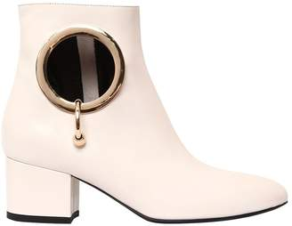55mm Alice Cutout Leather Ankle Boots