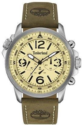 Timberland 'Campton' Multifunction Leather Strap Watch, 53Mm $219 thestylecure.com