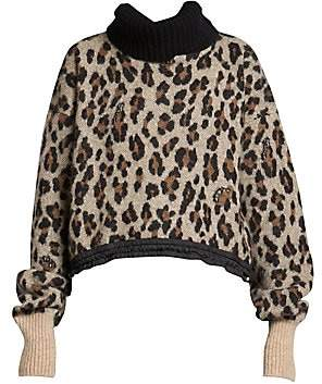 Sacai (サカイ) - Sacai Women's Leopard Alpaca & Wool Knit Turtleneck Sweater