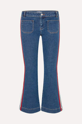Sonia Rykiel Cropped Striped Low-rise Flared Jeans - Blue
