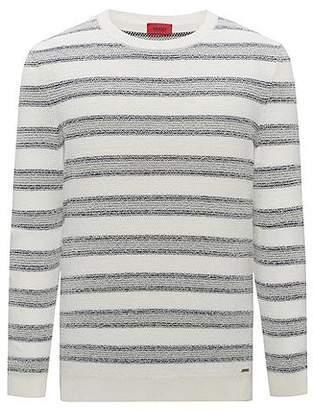 HUGO BOSS Cotton-blend sweater with jacquard stripe