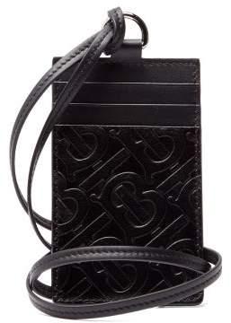 Burberry Logo Embossed Leather Necklace Cardholder - Mens - Black
