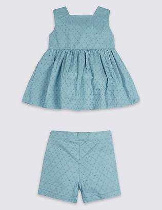 Marks and Spencer 2 Piece Broderie Top & Shorts Outfit