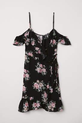 H&M Wrap Dress with Flounces - Black