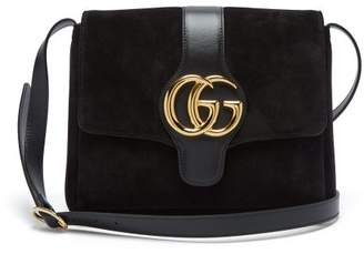 Gucci Gg Arli Suede And Leather Cross Body Bag - Womens - Black