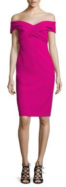 Theia Off-The-Shoulder Sheath Dress $550 thestylecure.com