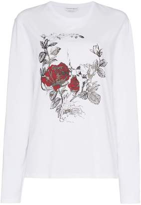 Alexander McQueen Gothic Rose Skull print cotton long sleeve t shirt