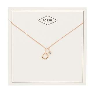 Fossil Women's Letter D -Tone Stainless Steel Necklace