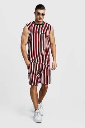boohoo MAN Signature Velour Stripe Tank & Short