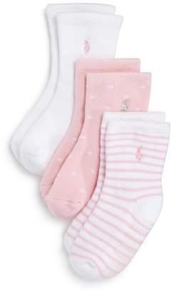 Ralph Lauren Girls' Crew Socks, 3 Pack - Baby