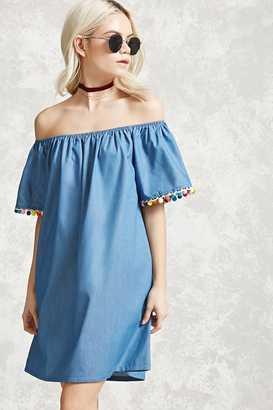 FOREVER 21+ Off-the-Shoulder Pom Pom Dress $24.90 thestylecure.com