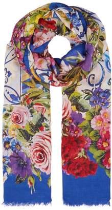 Dolce & Gabbana Majolica Floral Print Scarf