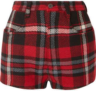 Miu Miu Tartan Wool Shorts - Red