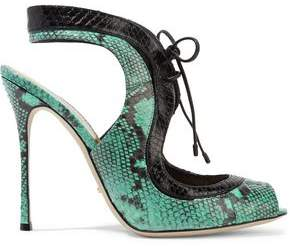 Sergio Rossi Ayers Snake-Effect Leather Sandals