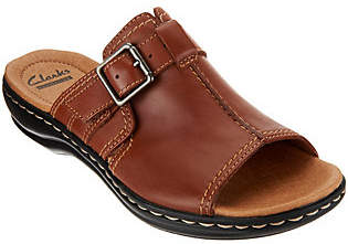 Clarks Leather Slip-on Sandals w/ Buckle Detail- Leisa Gianna