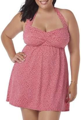 Simply Slim Women's Plus-Size Shirred Retro Glam Halter One-Piece Swimdress