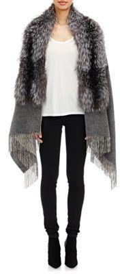 Barneys New York Women's Fox Fur-Collar Cape-GREY $1,695 thestylecure.com