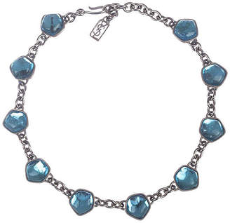 One Kings Lane Vintage YSL Blue Topaz Gripoix Glass Necklace - Treasure Trove NYC