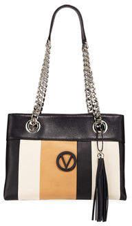 Mario Valentino Valentino By Kali Striped Leather Chain-Strap Tote Bag