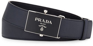 Prada Saffiano Leather Plaque Belt $430 thestylecure.com