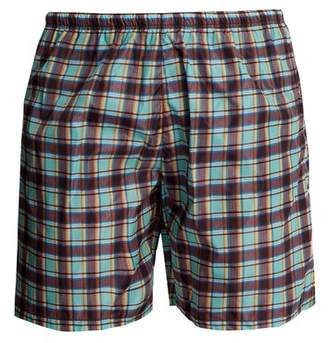 Prada Checked Swim Shorts - Mens - Blue Multi