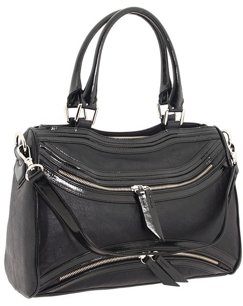 Treesje Piped Asher (Black/Black Patent) - Bags and Luggage