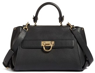 Salvatore Ferragamo Medium Pebbled Leather Satchel - Black $2,740 thestylecure.com