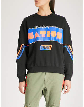 P.E Nation Logo-print cotton-jersey sweatshirt