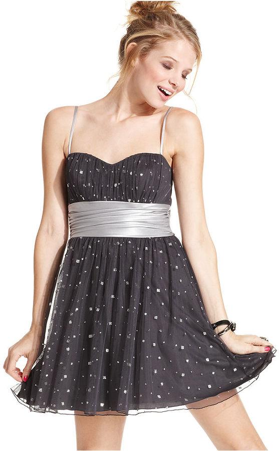 Speechless Juniors Dress, Sleeveless Studded Sash