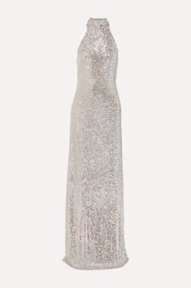 Naeem Khan Sequined Tulle Halterneck Gown - Silver