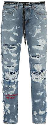 Off-White Distressed slim-leg jeans