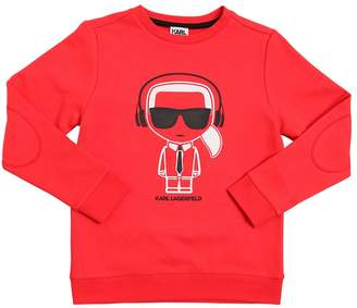 Karl Lagerfeld Headphones Print Cotton Sweatshirt