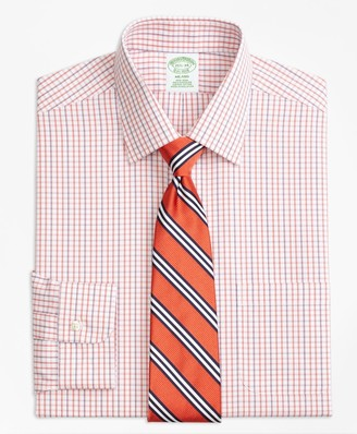 Brooks Brothers Milano Slim-Fit Dress Shirt, Non-Iron Tonal Check Windowpane