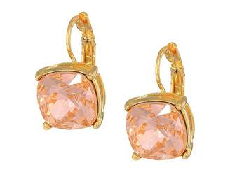 Kenneth Jay Lane Gold Eurowire/Light Peach 12mm Faceted Square Stone Earrings