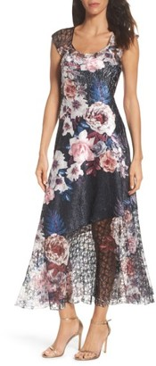 Women's Komarov Charmeuse & Lace A-Line Dress $298 thestylecure.com