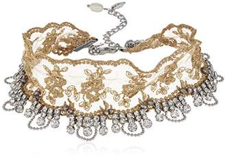 Badgley Mischka Ivory Lace and Crystal Choker Necklace