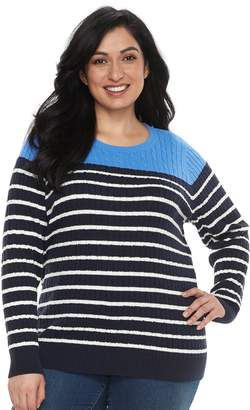 51a92cc3cd9 Croft   Barrow Plus Size Essential Cable-Knit Sweater
