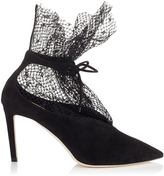 Jimmy Choo LEANNE 85 Black Suede Booties with Polka Dot Net