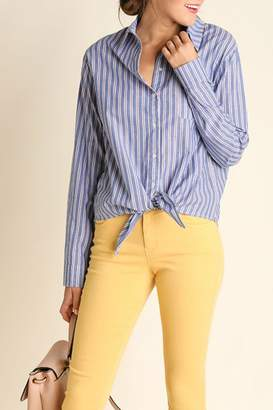 Umgee USA Striped Button Up Blouse $37 thestylecure.com