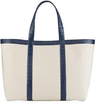 Nancy Gonzalez Carryall Crocodile & Linen XL Tote Bag